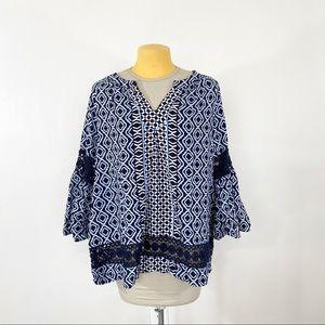 Crown & Ivy Bell Sleeve Printed Blouse